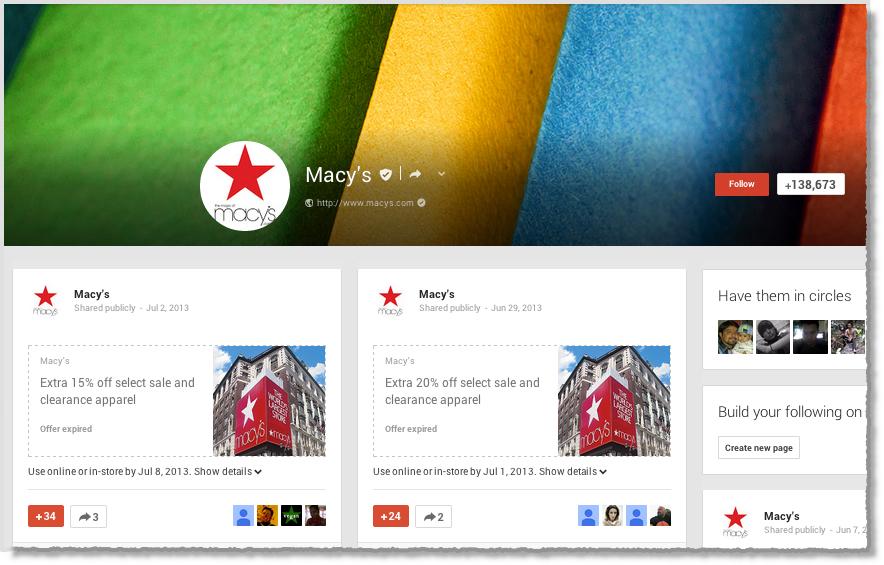 Macy Google+ page