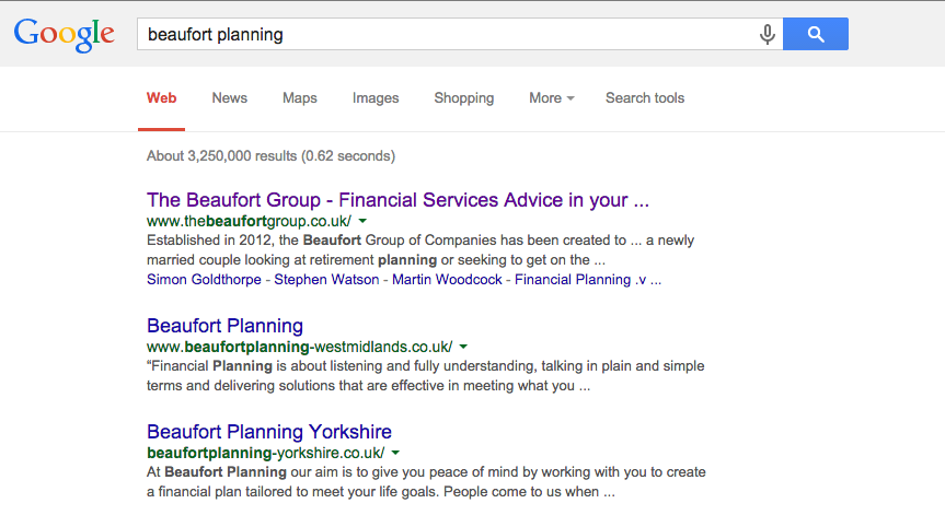 Search results with no Google My Places listing