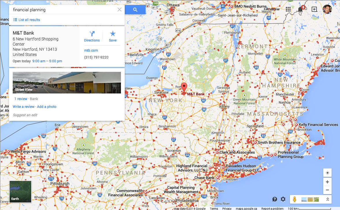 Google maps search result