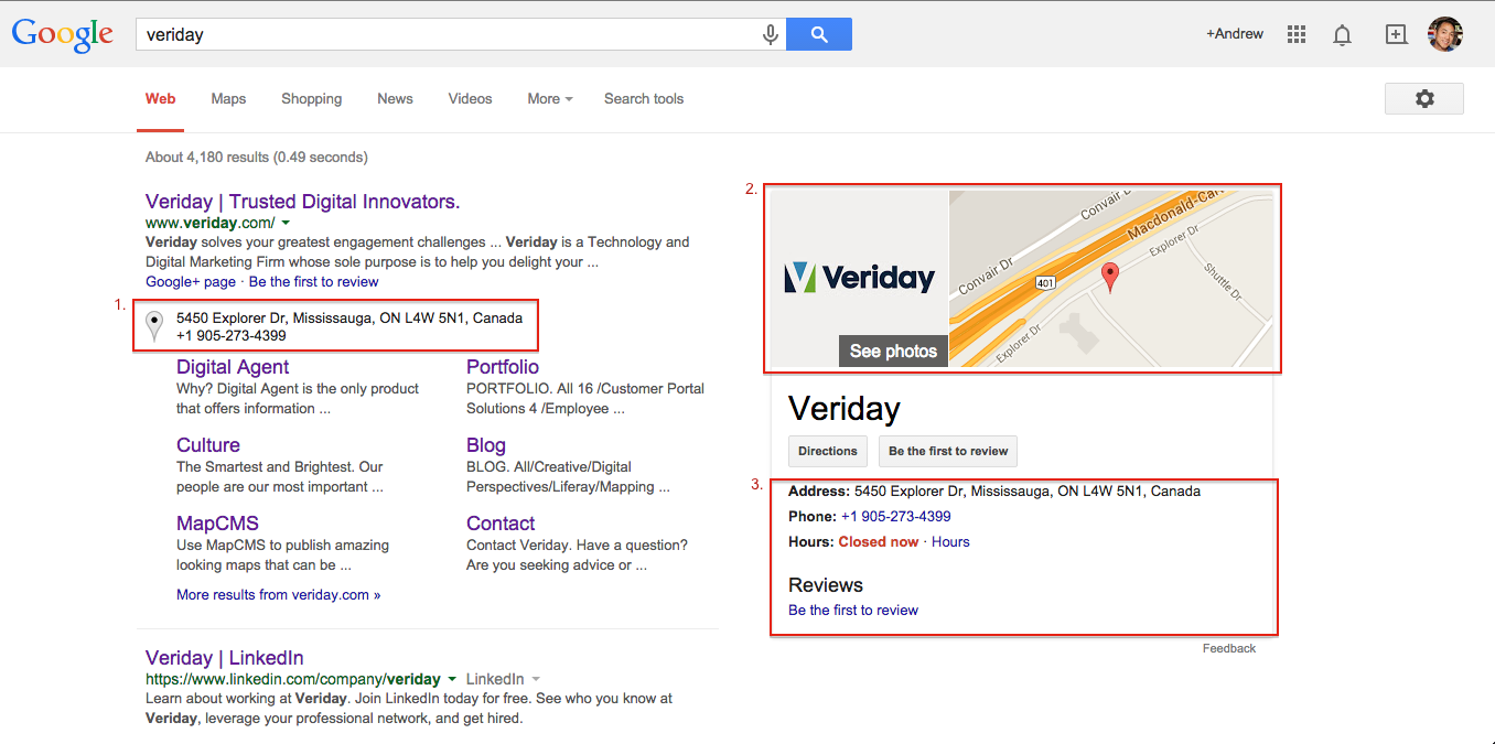 Enhanced search results using Veriday