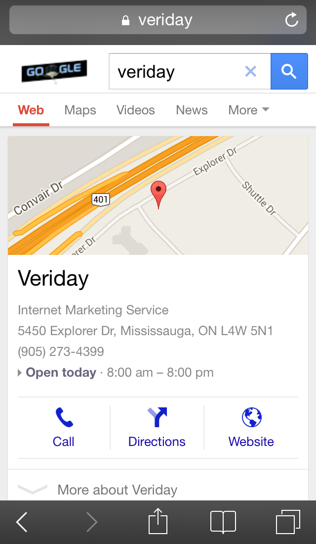 Veriday Mobile search results