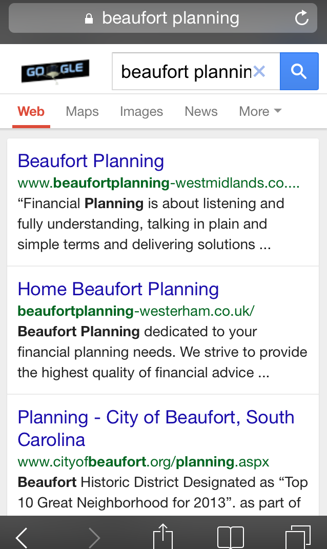 Beaufort Planning mobile search