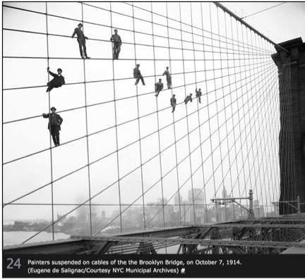 Painters on cable, Brooklyn Bridge: Eugene de Salignac/Courtesy NYC Municipal Archives