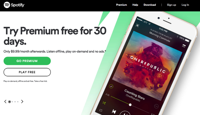 CTA example using Spotify website