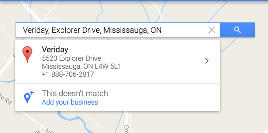 Google maps search for business